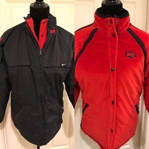 Reversible Nike jacket red/black size 14/16